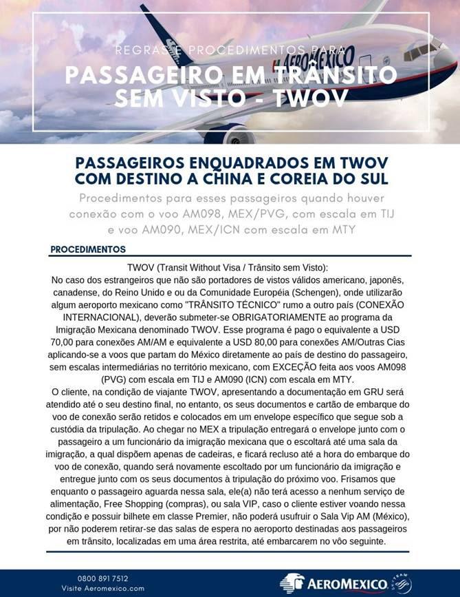 Informativo - Passageiros em Trânsito sem Visto TWOV